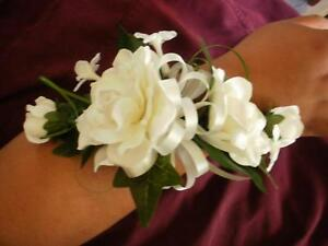 Wedding Gardenia stephanotis white ivory  wrist corsage