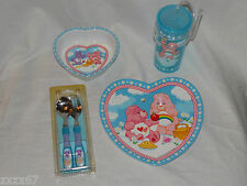 NEW CARE BEARS DINNERWARE SET OF 4 PIECES PLATE BOWL CUP SPOON AND FORK