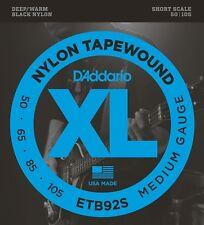 D'Addario ETB92S Nylon Tapewound Medium Short Scale Bass Strings (50-105) +Picks