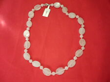 Rose Quartz Beaded Necklace with 925 Sterling Silver Clasp-19 inches