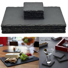 Set of 12 Natural Slate Rectangle 6 Placemats & 6 Coasters Tablemat Dinner Set