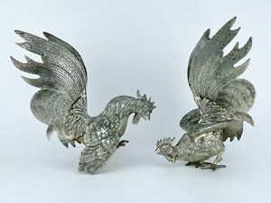 VINTAGE - 2 LARGE SILVER PLATED FIGHTING COCKERELS - Height 8.75in - 1.45kg
