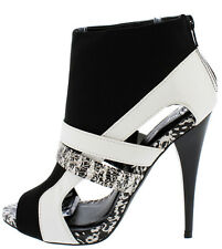 Black White Strappy Cut Out Sides Peep Toe Bootie Heels, US 5.5 -10