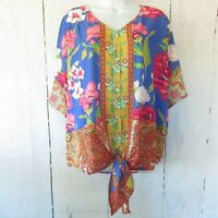 New Umgee Top XL X Large Floral Paisley Scarf Print Tie Front Ruffle Sleeve
