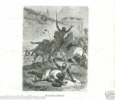 1265 simon de montfort killed battle of evesham uk antique old print engraving 1883