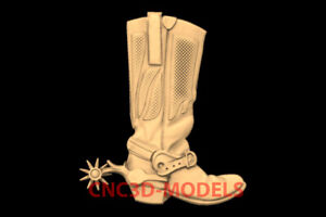 3D Model for CNC STL File Artcam Aspire Vcarve old cowboy boots spurs PK125