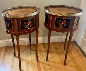 Gorgeous Pair Antique French Inlaid Nightstands/End Tables