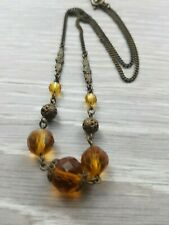 Vintage Czech Orange faceted beads and metal work filigree Necklace