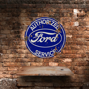 Authorized Ford service large round circular  shaped metal tin sign