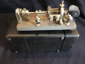 Vintage Vibroplex Standard Blue Racer Telegraph Radio Bug Key with Original Case