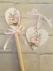 Shabby Chic Pink Amore Roses Wooden Spoon And Heart Set