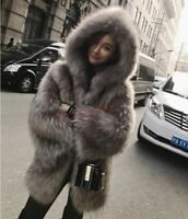 Women's Natural Thicken Coat Winter Genuine Real Fox Fur Hooded Jacket Outwear