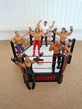 WWE / TNA IMPACT WRESTLING RING SPRING BASE / 6 WRESTLERS  & MINI BELT HEX SHAPE