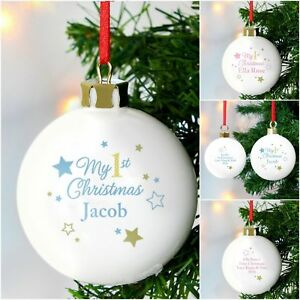 Personalised My 1st First Christmas Tree Bauble Xmas Gift Idea for New Baby