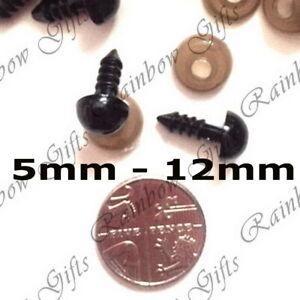 5mm - 12mm BLACK PLASTIC SAFETY EYES FOR SOFT TOY MAKING AMIGURUMI KNITTING BEAR