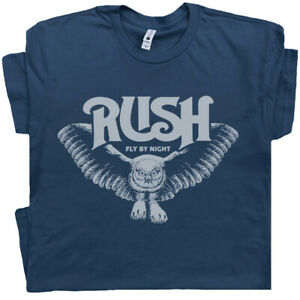 Rush T Shirt Cool Vintage Band Shirts Fly By Night Owl Retro Concert Graphic Tee