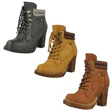 Ladies Spot On! F50322 Casual High Heel Lace Up Ankle Boots