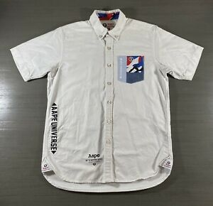 A Bathing Ape Button Up Shirt Adult Medium White Aape Universe Casual Men's