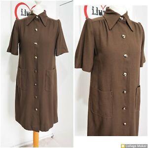 Vintage 70s Chocolate Brown Wool Blend Midi Smock Shirt Dress Coat Size 12