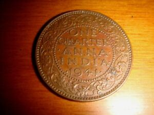 INDIA, 1941 One Quarter Anna, King George VI, nice & decent circulated