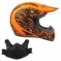Snowmobile Helmet Snocross Matte Orange Splatter W/ Breathbox Adult DOT Snow