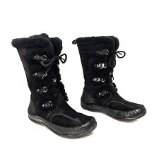 Women's The North Face Black Embroidered Sheepskin Lace Up Winter Boots Size 7