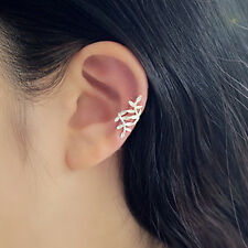 1 Pair Clip-on Earring Cartilage Leaf Ear Cuff Clip Wrap Non Piercing