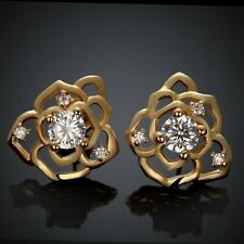 2.2 Ct Round Diamond 14K Yellow Gold Over Flower Stud Earrings Mother Day Hallow