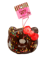 SANRIO HELLO KITTY Chocolate Donut Sprinkles Kawaii RARE Squishy Keychain Charm