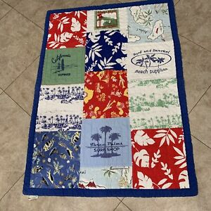 Pottery Barn Kid Patchwork SURF ISLAND Aloha BEACH Hawaiian 50 X 36 In Lap Quilt