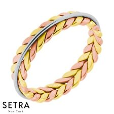 Hand Crafted Work Multi-Tone Gold For Him & Hers Solid Wedding Band 14K Gold
