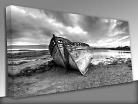 Abandoned fishing boat at Isle of Mull Panoramic Canvas Wall Art Picture Print