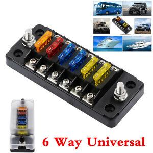 Waterproof 6 Way 12 Fuse Box Circuit Standard Blade Block Holders w/ LED For Car
