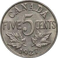 1927 Canada Five Cents, Lustrous AU Example