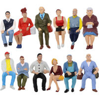12pcs G scale Sitting Figure 1:25 All Seated Painted People Railway Diorama