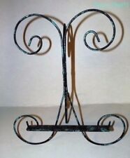 Metal Art Picture Easel Turquoise & Black Washed Look Shabby Country  Chic Look