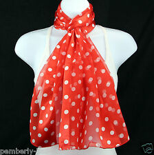 Red & White Polka Dot Womens Scarf Fun Dotted Striped Fashion Gift Scarves New