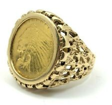 14K Gold Ring Size 6.75 With $5 Pure Gold Indian Head Coin 10.7 Grams 3844-QQX