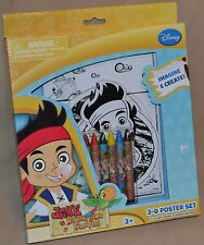 "10"" Jake And The Neverland Pirates Disney Junior 3-D Poster Set Coloring Books"