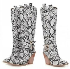 Women Snakeksin Print Pointy Toe Knee High Boots Chunky Heel Cowboy Shoes 34-46