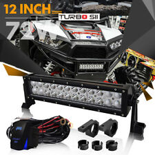 12inch 72W Triple Row Side Shooter Spot Flood Beam LED Light Bar 6000k SUV