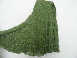 New April Cornell Green Dot Tiered Skirt  XL Large Vintage Romantic A-line NWT