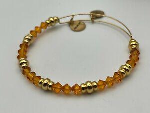 ALEX & ANI Goldtone Adjustable Charm Bangle Bracelet with Orange Crystal Beads