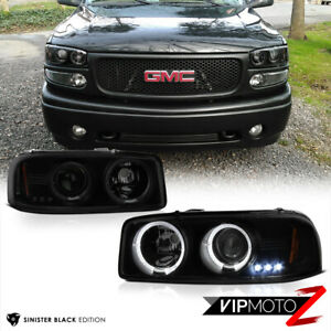 "<Sinister Black> 99-06 GMC Yukon Sierra ""World Class"" Tinted Projector Headlight"
