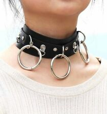 Black Choker Collar 3 Triple O Ring Neck BDSM Leather Strap Fetish Restraint