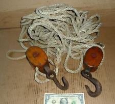 Vintage Black & Tackle,Old Pulley,Rope,ANVIL LOGO,Nautical,Marine Tool,Farm Loft