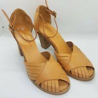 Robert Clergerie Tan Leather Sandals Sz UK 3 Block Heels Summer Eu 35.5