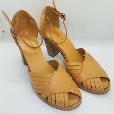 Ladies ROBERT CLERGERIE Tan Leather Sandals Sz UK 3 Block Heels Summer Eu 35.5