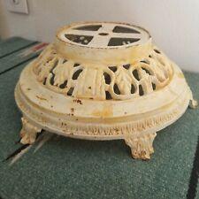 Antique Cast Iron Floor Lamp Base Art Nouveau Vines Footed White Paint IMP 82