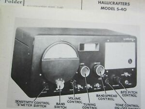 HALLICRAFTERS S-40 MULTIBAND RADIO RECEIVER PHOTOFACT
